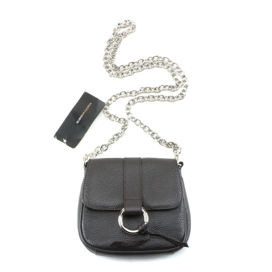 BCBG Max Azria Black Pebbled Leather Front Flap Crossbody Chain Bag