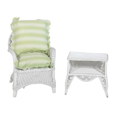 Wicker Armchair with Jane Wilner Cushions and Side Table