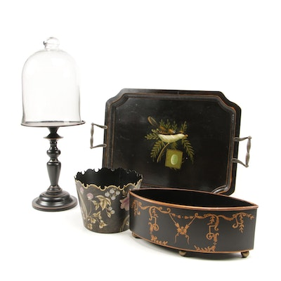 Home Décor Including Pedestal with Cloche, Sparrow Painted Tray and More