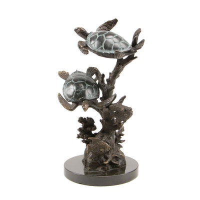 "SPI Gallery ""Sea Turtle Duet with Fish"" Brass Sculpture"