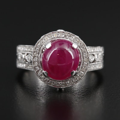 14K White Gold 3.68 CT Ruby and Diamond Ring