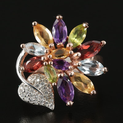 Sterling Silver Amethyst, Citrine, and Peridot Ring