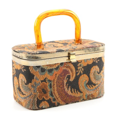 Julius Resnick Tapestry Box Purse with Lucite Handle, 1960s Vintage