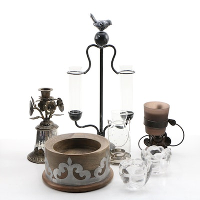 Contemporary Glass and Metal Candle Holders and Other Table Decor