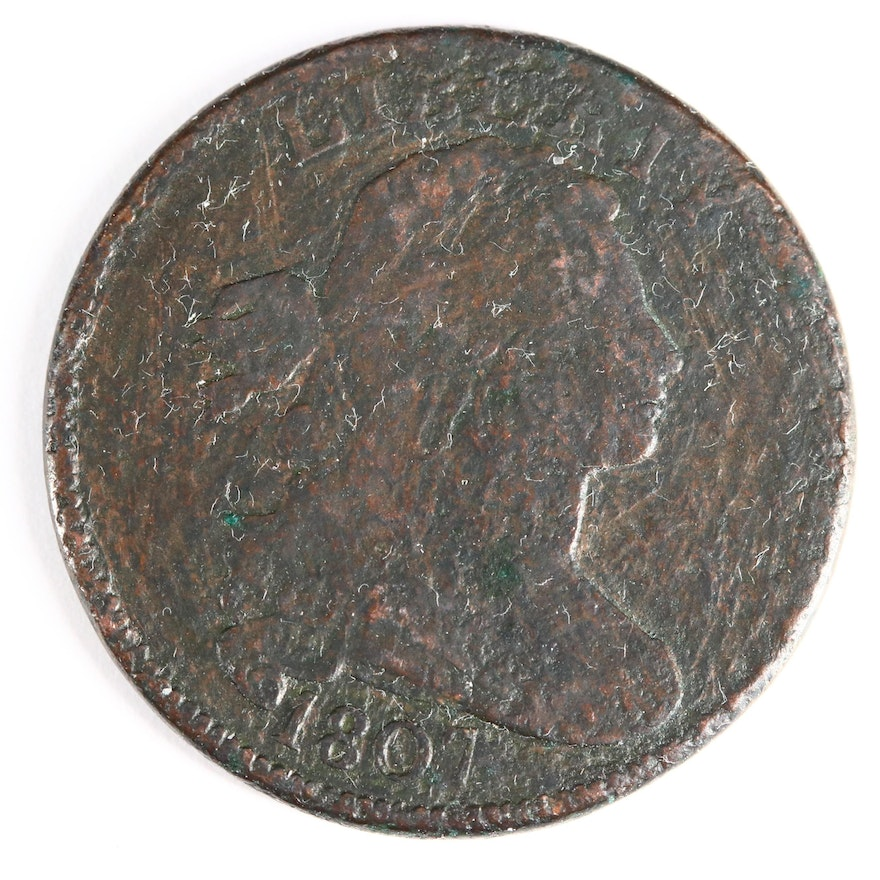 """1807 """"Small Fraction Variety"""" Draped Bust Large Cent"""