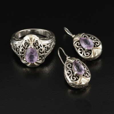 Sterling Silver Amethyst Ring and Earrings Sets Featuring Scroll Work