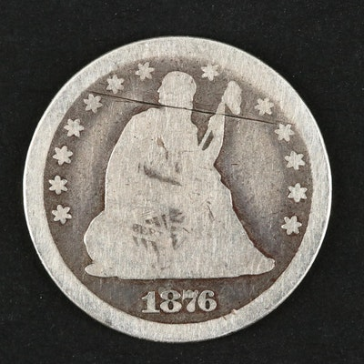 1876 Carson City Seated Liberty Silver Quarter