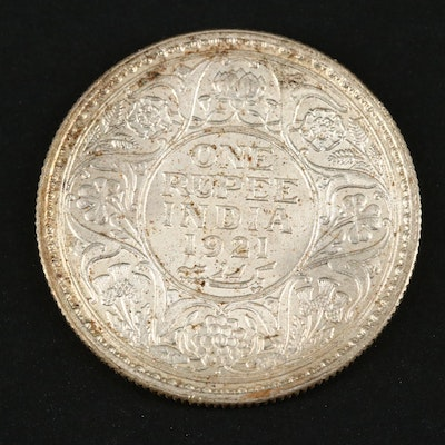 1921 Indian One Rupee Silver Coin