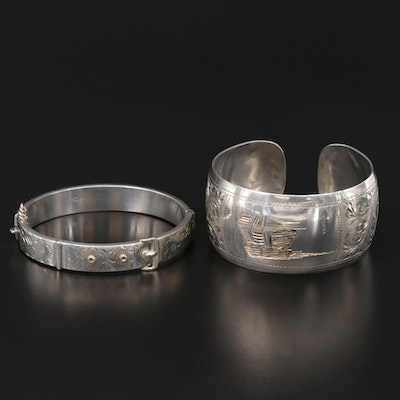 Vintage Sterling Hinged Bangle and 800 Silver Engraved Cuff Bracelets