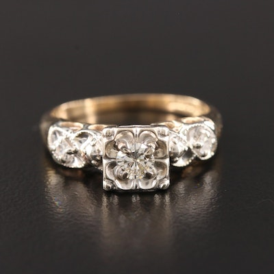 14K Yellow and White Gold Diamond Ring