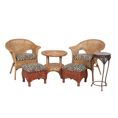 Wicker Armchairs, Footstools and Accent Tables, Late 20th Century