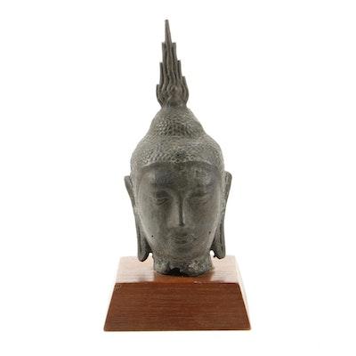 Sukhothai Style Mounted Cast Buddha Head