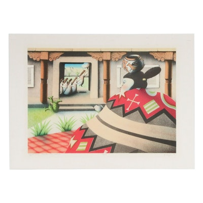 "T.P. Speer Lithograph ""Spirit House: Placita, The Women"""