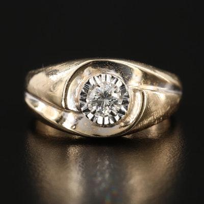 14K Yellow Gold Diamond Illusion Set Solitaire Ring
