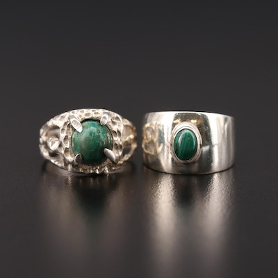Taxco Sterling Silver Rings with Malachite and Chrysocolla