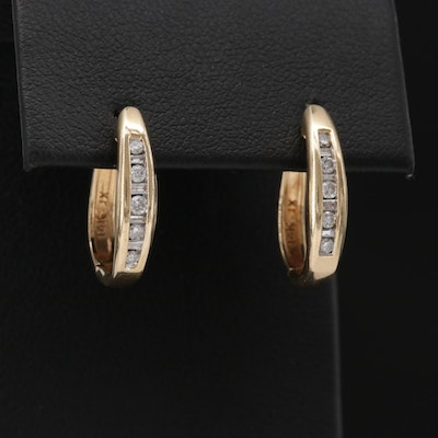 14K Yellow Gold Diamond Huggie Hoop Earrings