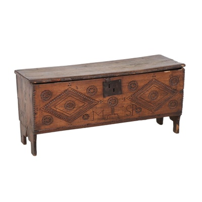 English Chip-Carved Elm Plank Chest, 17th/18th Century