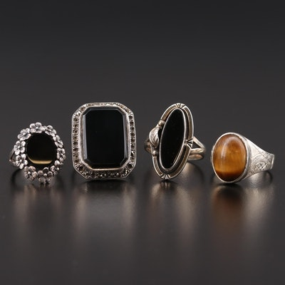 Sterling Silver Rings with Tiger's Eye Quartz, Black Onyx and Marcasite