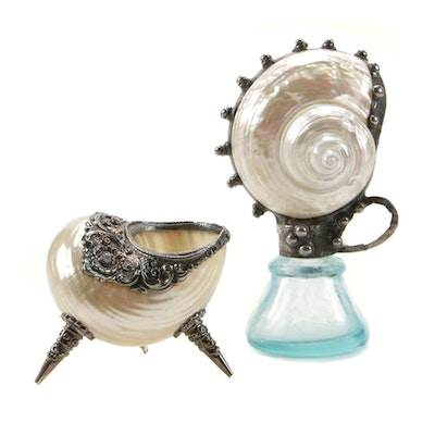 Baroque Revival Silver Plate and Seashell Decorative Accents