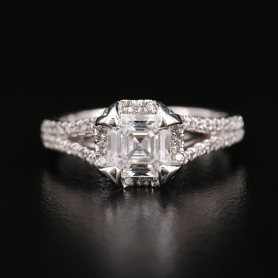 Verragio 18K White Gold Diamond Semi-Mount Ring with Cubic Zirconia Center