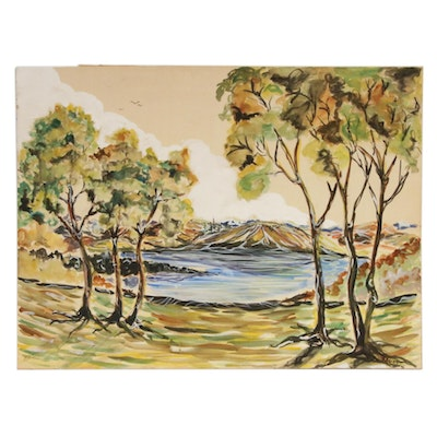 Lake Scene Gouache Painting, 1945