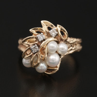 14K Rose Gold Cultured Pearl and Diamond Ring With Foliate Motif