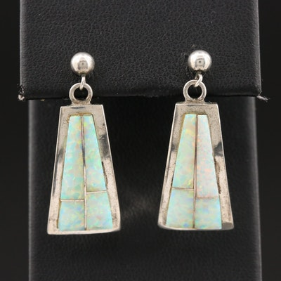 Gilbert Nelson Navajo Diné Sterling Silver Opal Dangle Earrings