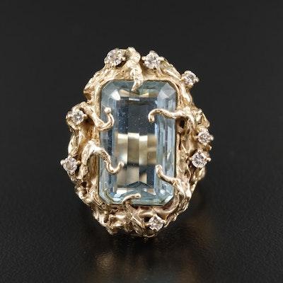14K Yellow Gold 11.82 CT Aquamarine and Diamond Biomorphic Ring