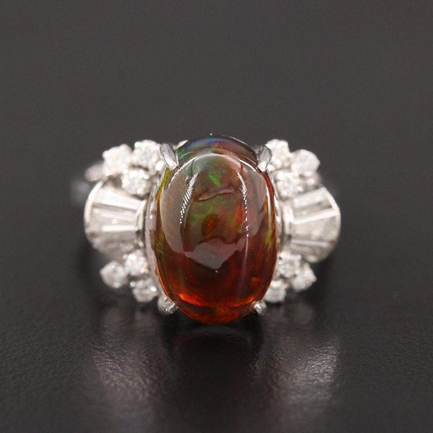 Platinum Opal and Diamond Ring