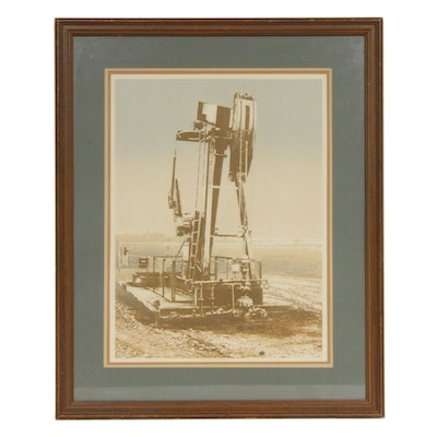 Embossed Lithograph of Oil Derrick, Mid to Late 20th Century