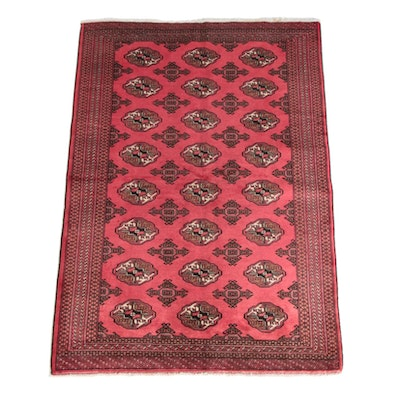 4'4 x 6'4 Hand-Knotted Turkish Tekke Bokhara Wool Rug