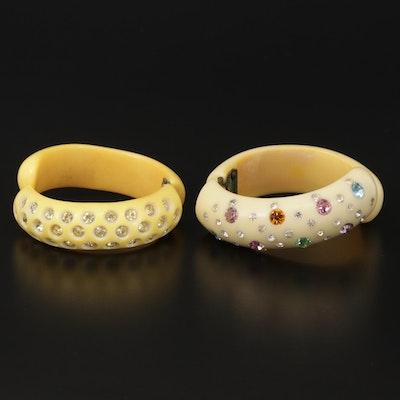 Vintage Resin and Rhinestone Hinged Bangle Bracelets