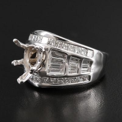 14K White Gold 2.45 CTW Diamond Semi-Mount Ring