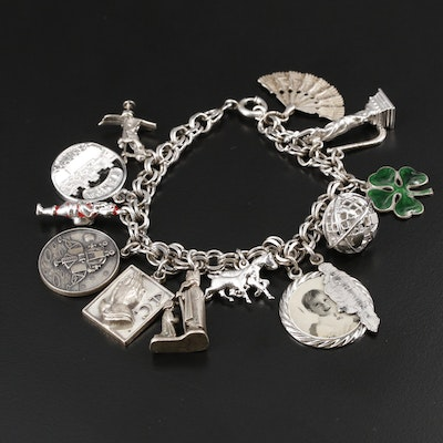 Vingate Sterling Charm Bracelet with Fan, Horse and Four Leaf Clover Charms