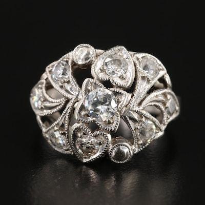Vintage 14K White Gold Diamond Openwork Ring