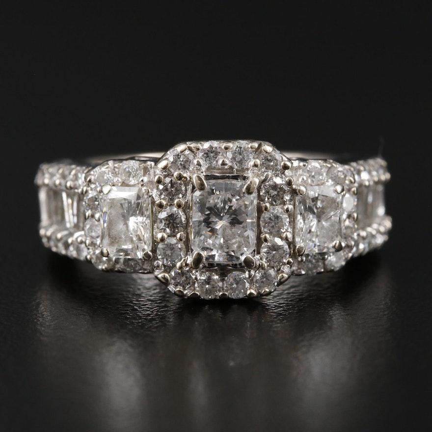 14K White Gold 2.44 CTW Diamond Ring