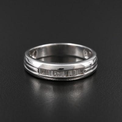 14K White Gold Diamond Channel Ring