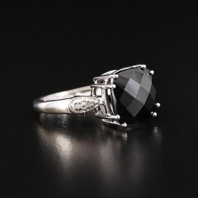 14K White Gold Black Spinel and Diamond Ring