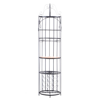 Contemporary Metal Scroll Work Bar Stand with Wine Bottle Rack