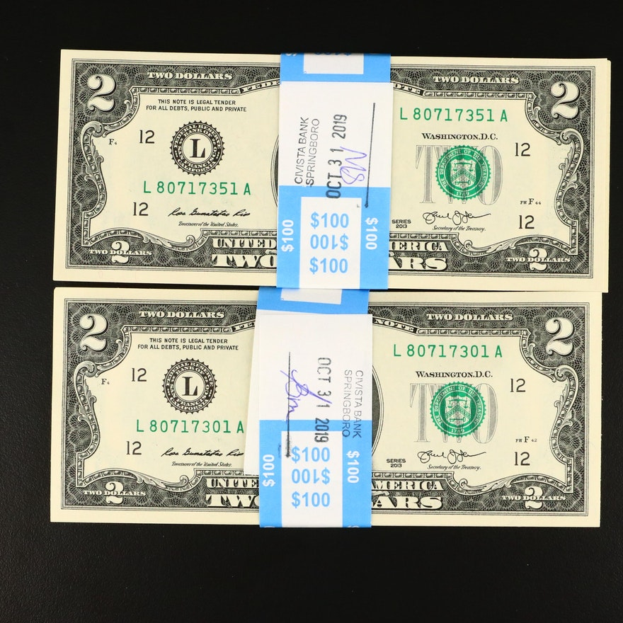 One Hundred Consecutively Serial Numbered 2013 U.S. $2 Federal Reserve Notes