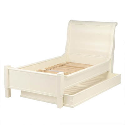 White Lacquered Twin Sleigh Bed with Trundle Storage Drawer, Contemporary