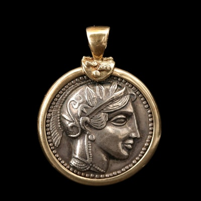 14K Yellow Gold Pendant with Reproduction Ancient Greek Tetradrachm Coin