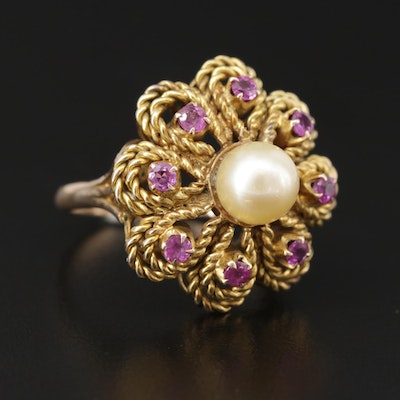 14K Yellow Gold Cultured Pearl and Pink Sapphire Floral Ring