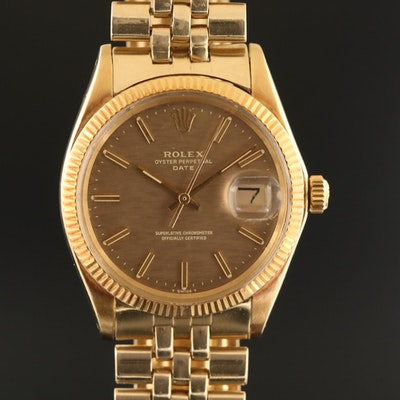 Vintage Rolex Oyster Perpetual Date 14K Gold Wristwatch with Florentine Dial