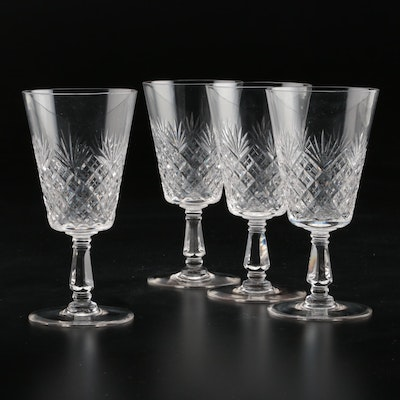 American Brilliant Period Diamond and Fan Cut Glass Wine Glasses