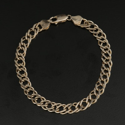 Milor Sterling Silver Double Curb Chain Bracelet