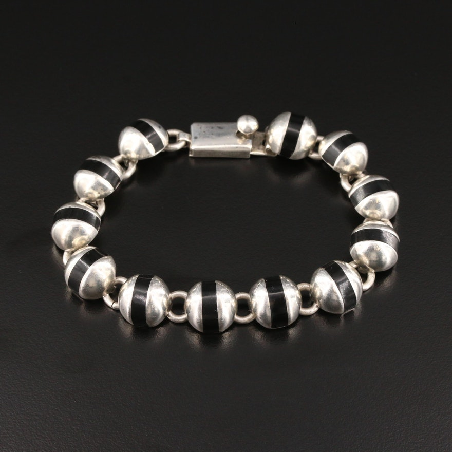 Mexican Sterling Silver Resin Bracelet