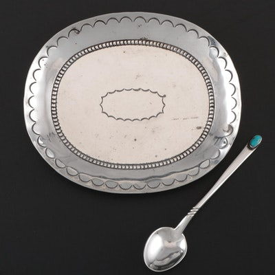 Mexican Style Sterling Silver Oval Dish With 800 Silver Demitasse Spoon
