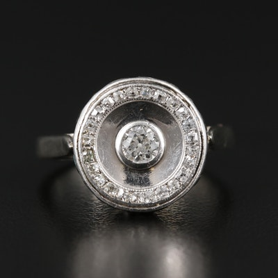 Victorian 14K White Gold Diamond Ring