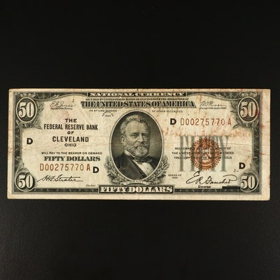 Series of 1929 $50 National Currency Note with Red Seal